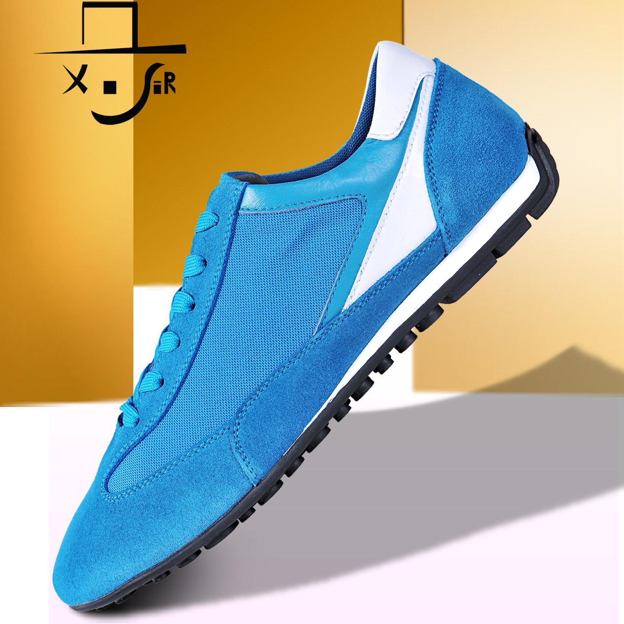 X Сэр весна шнуровкой замша чистая ткань пэчворк воздухопроницаемый спорт свободного покроя обувь lxz5066