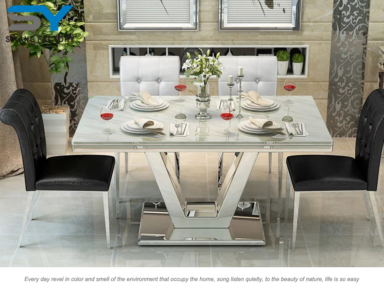TATA 2017 Stainless Steel Modern Malaysia Marble Dining Table Manufacturer