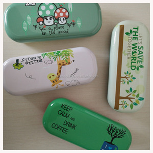 Customized Logo Design Baking Finish Eyewear Accessory of Tinplate Metal Eyeglasses Cases N Bags