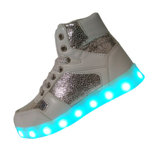 2016 New White Color Kids Light Up Shoes Girl Led Shoes Boys Sneakers Basket Children PU