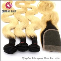 ombre color 100% virgin brazilian straight human hair weave bundles with closure
