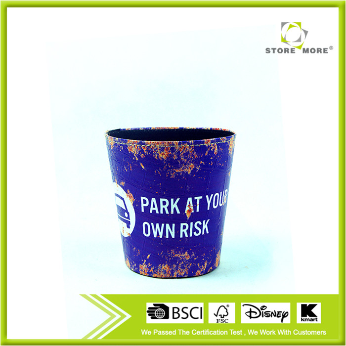 2016 Parking Warning Print Faux Leather Open Top Standing Trash Can