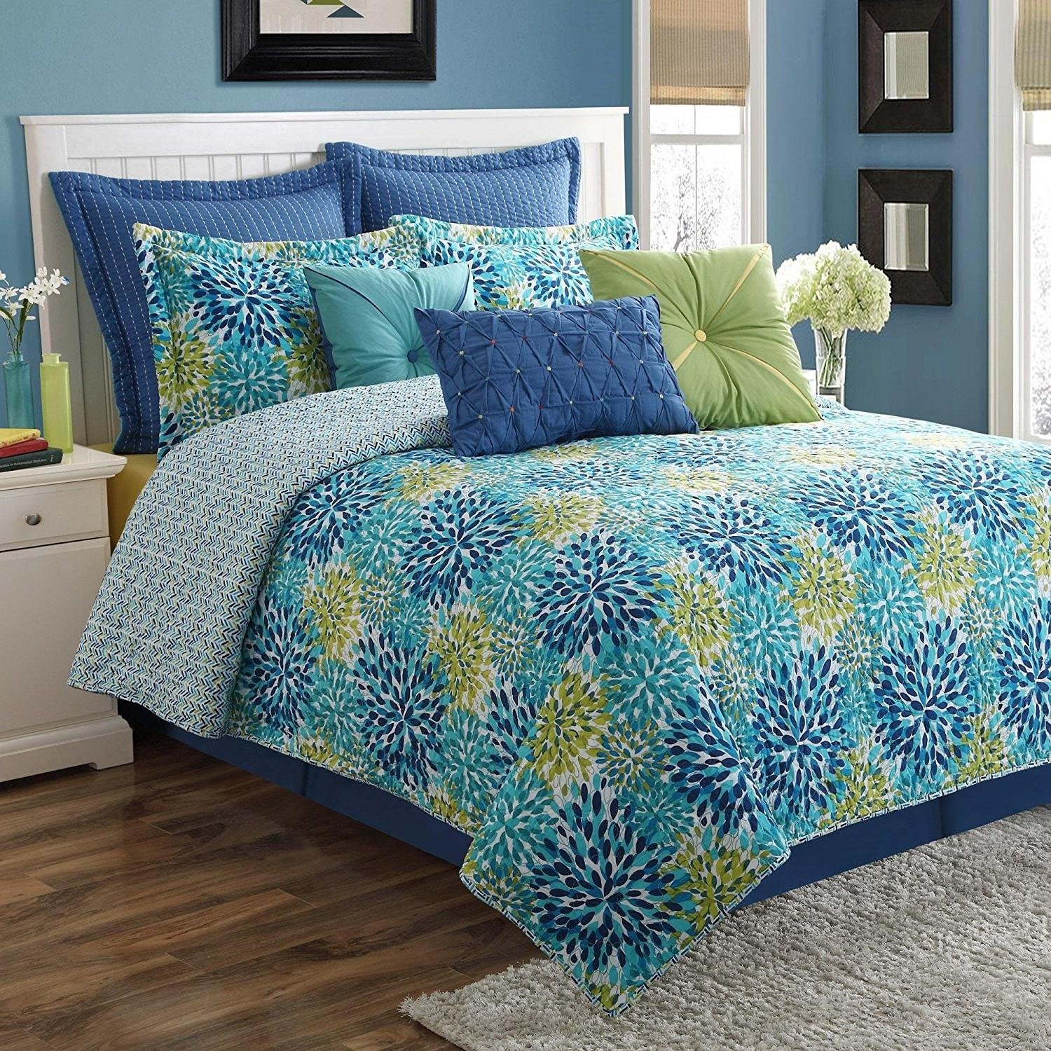 MISC 2pc Royal Blue Green White Twin Quilt Set, Bohemian Floral Garden Themed Bedding Vibrant Navy Aqua Bright Cheery Geometric Boho Pretty Trendy Contemporary Flower Teal, Cotton