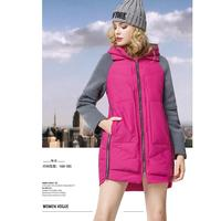 2018 Design Fashion Two Piece Like Hoody Middle Length Women Padded Winter Coat