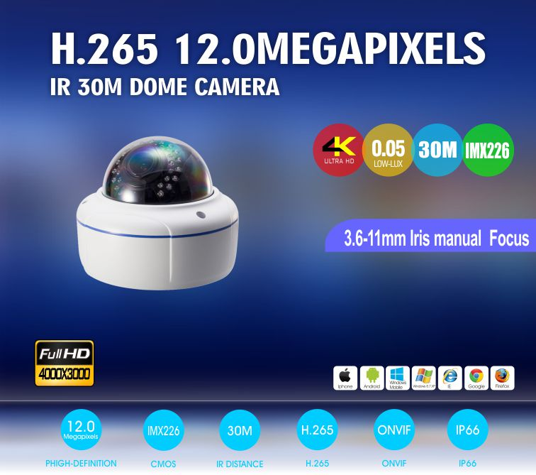 PoE  4K 12.0MP HD Color IR Dome CCTV Camera up to 128GB  Progressive Scan SONY IMX226 CMOS IP security camera