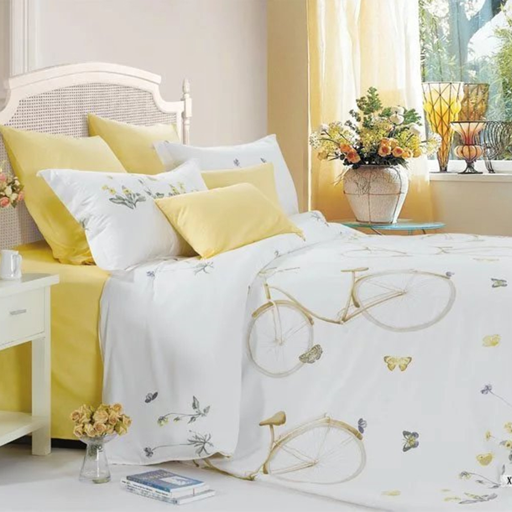 Bright colored printed polyester imported bed linen bed sheet