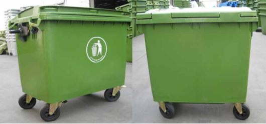 1100l Recycling Large Bin Waste Plastic Trash Can Outdoor