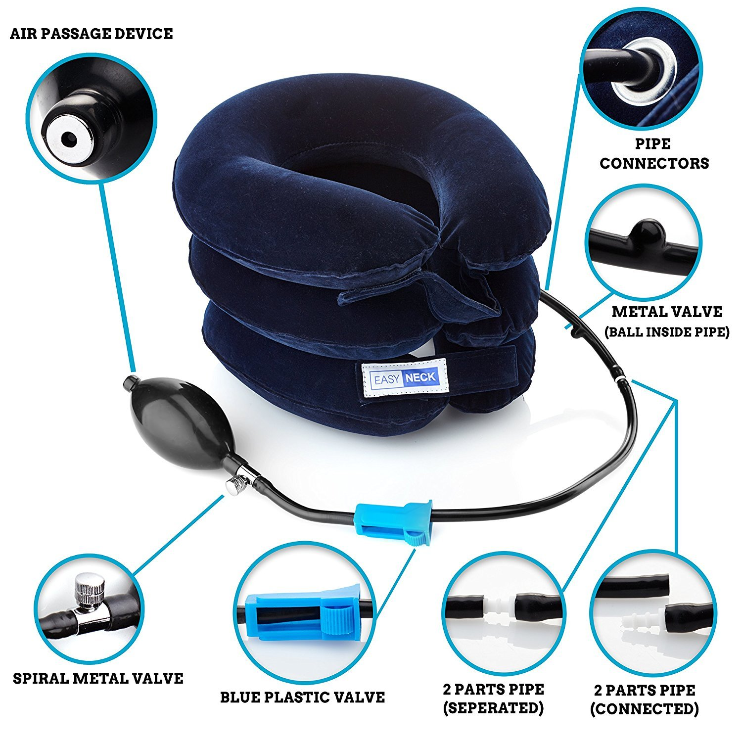 Inflatable Cervical Neck Traction Device - Improve Spine Alignment to Reduce Neck Pain - EasyNeck® Cervical Collar Adjustable - Blue