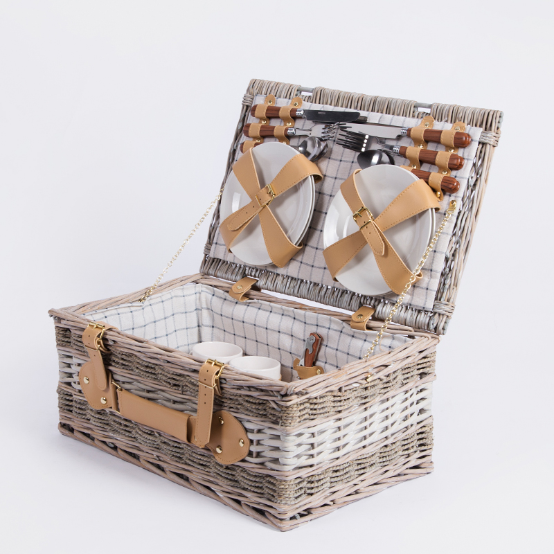 Grey willow wicker rattan seagrass woven dim sum picnic storage hamper basket