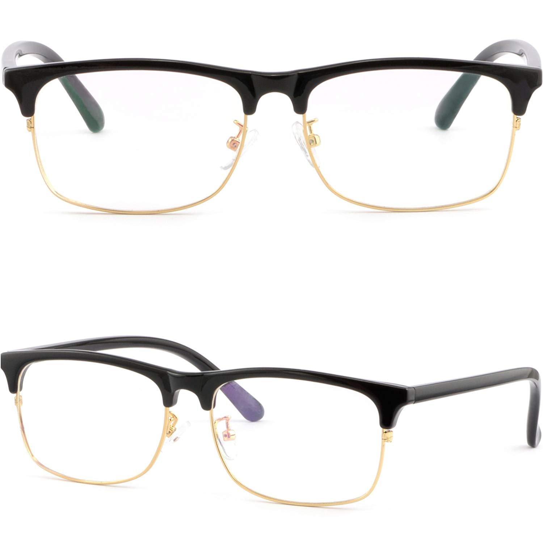 9fa7cc736d4 Get Quotations · Full Rim Plastic Black Browline Frames Gold Rim  Prescription Glasses Men Women