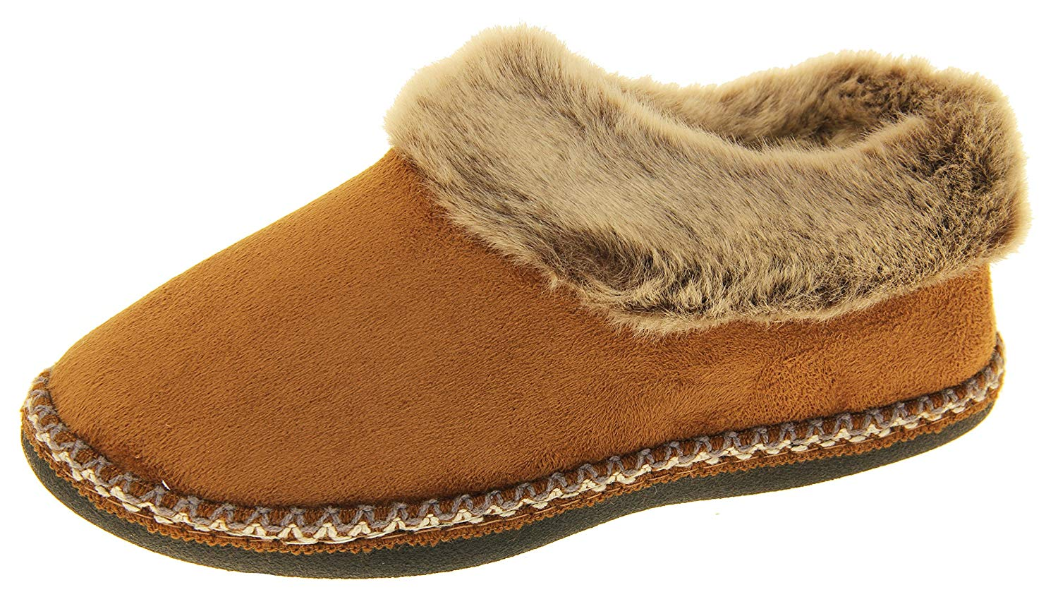 417e4fbf6 Get Quotations · Coolers Womens Tan Brown Synthetic Fur Lined Slippers 9  B(M) US