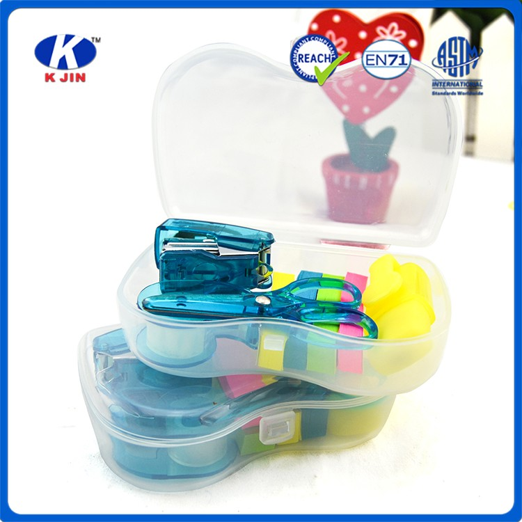 2016 6pcs cheap promotional stationery sets for offices into plastic box