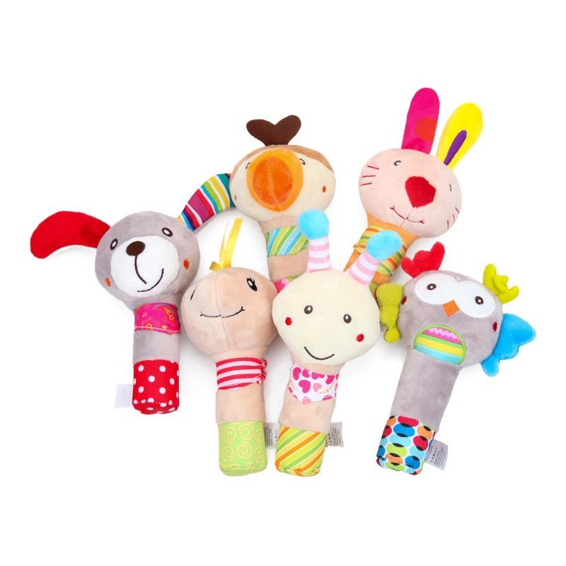 BBSky Stuffed Animal Baby Soft Plush Hand Rattle Squeaker Stick toy