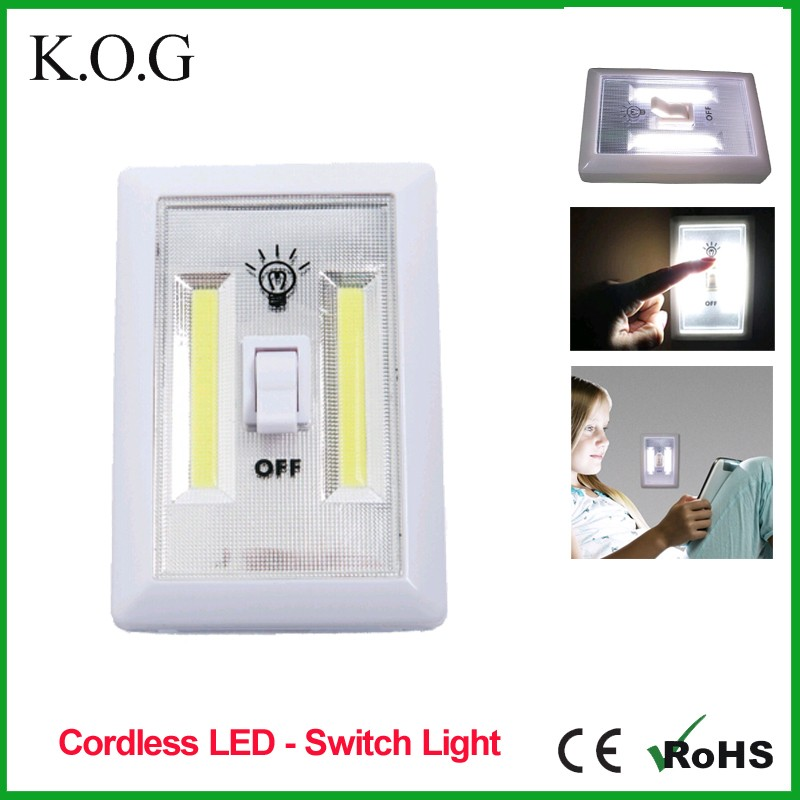 Hot Wireless 3W COB LEDSwitch Light as Night Light