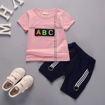2018 cheap kids and short sleeve set baby girl clothes sets private labels china clothing manufacturer