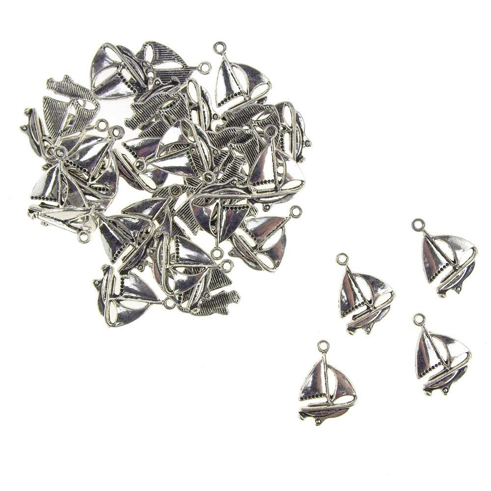 Homeford Metal Nautical Sailboat Charms, 5/8-Inch, 35-Count (Silver)