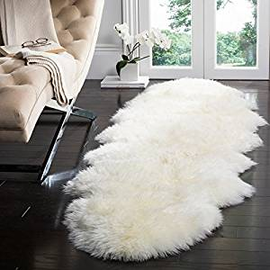 Get Quotations  Safavieh Prairie Sheepskin Wool White Shag Rug 2u0027 X 6u0027 SHS121A