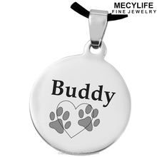 MECYLIFE personalized stainless steel disc dog's paw message necklace