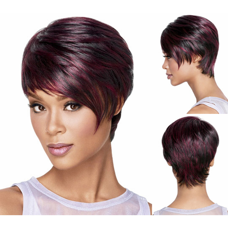 Medusa hair products: Red Afro Short pixie cut style wig with bangs straight Synthetic african american wigs for women SW0114