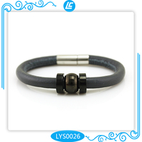 Beautiful Sheepskin Leather Charm Bracelets With Black Round Bead for Friendship