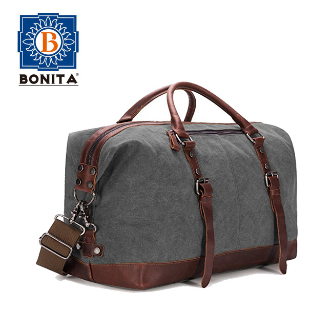 Classic Military Style High Quality Canvas PU Leather Travel Tote Duffel Bag Carry on Bag Weekender Overnight Bag