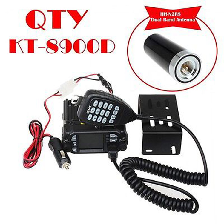 Barato 25 W Dual Band VHF/UHF Mini Rádio Do Carro QYT KT-8900D Quad-Standy Rádio Base Móvel com Mic + HH-N2RS