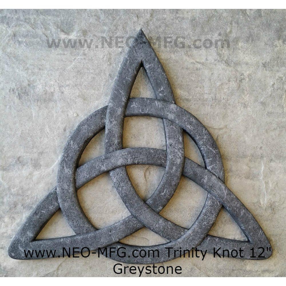 "Celtic decor Trinity Knot Wall Plaque sculpture Irish Neo-Mfg 12"" Grey Stone"