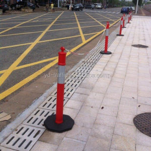 4.5'' Plastic warning bollard rubber base warning post road safety warning post traffic safety series