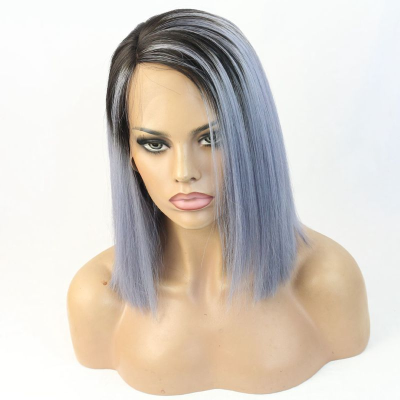 Hot Selling Grey Ombre Hair Color Human Hair Short Bob Lace Wig Free