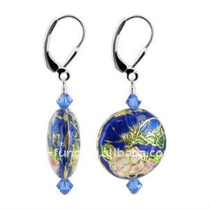 Blue Crystals Cloisonne Bead Sterling Silver Leverback 1.5 Long Dangle Earrings