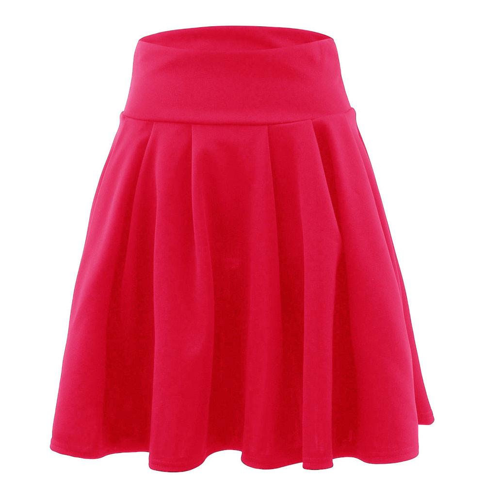 Saia Womens Solid Mini Skirt Ladies Casual A-Line Mini Short Skirt Simple  High Waist Party Cocktail Tutu Skirt Faldas Mujer  YL 68e375c5b1fc