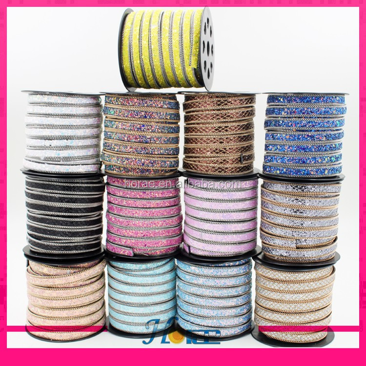 New arrival 1cm width iron on glitter ribbon powder sequin trimming