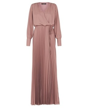 Latest Dusty Pink Pleated Dress Hot Sell Muslim Long Dress Fashionable Baju Kurung Muslim Women Dress Crepe Bow Cuffs