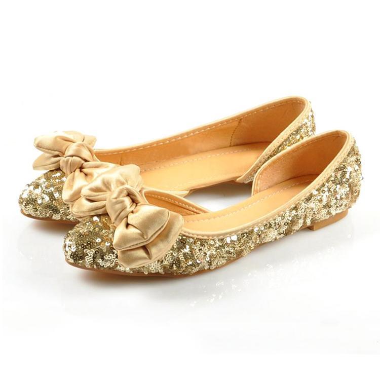 Gold Glitter Shoes Flats