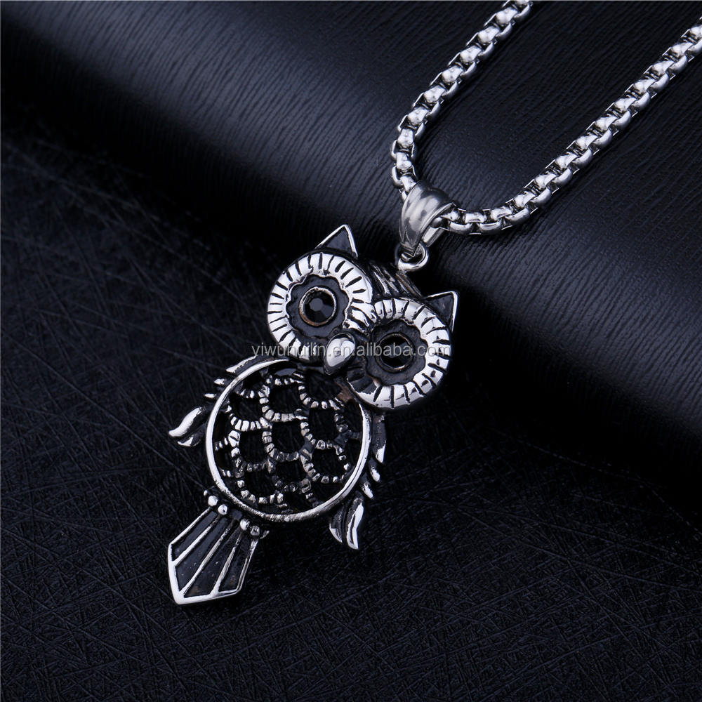 NS 055 Yiwu Huilin Jewelry lock shape skull pendant 316L Stainless Steel silver plated necklace men