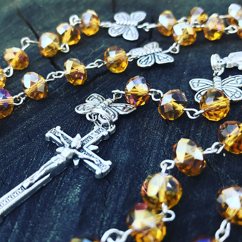 Catholic Rosary. Topaz Rosary. Crystal Rosary. November Birthstone. November Rosary. November. Catholic Prayer Beads. Catholic Rosary Beads. Citrine Birthstone. Butterfly. Catholic. November