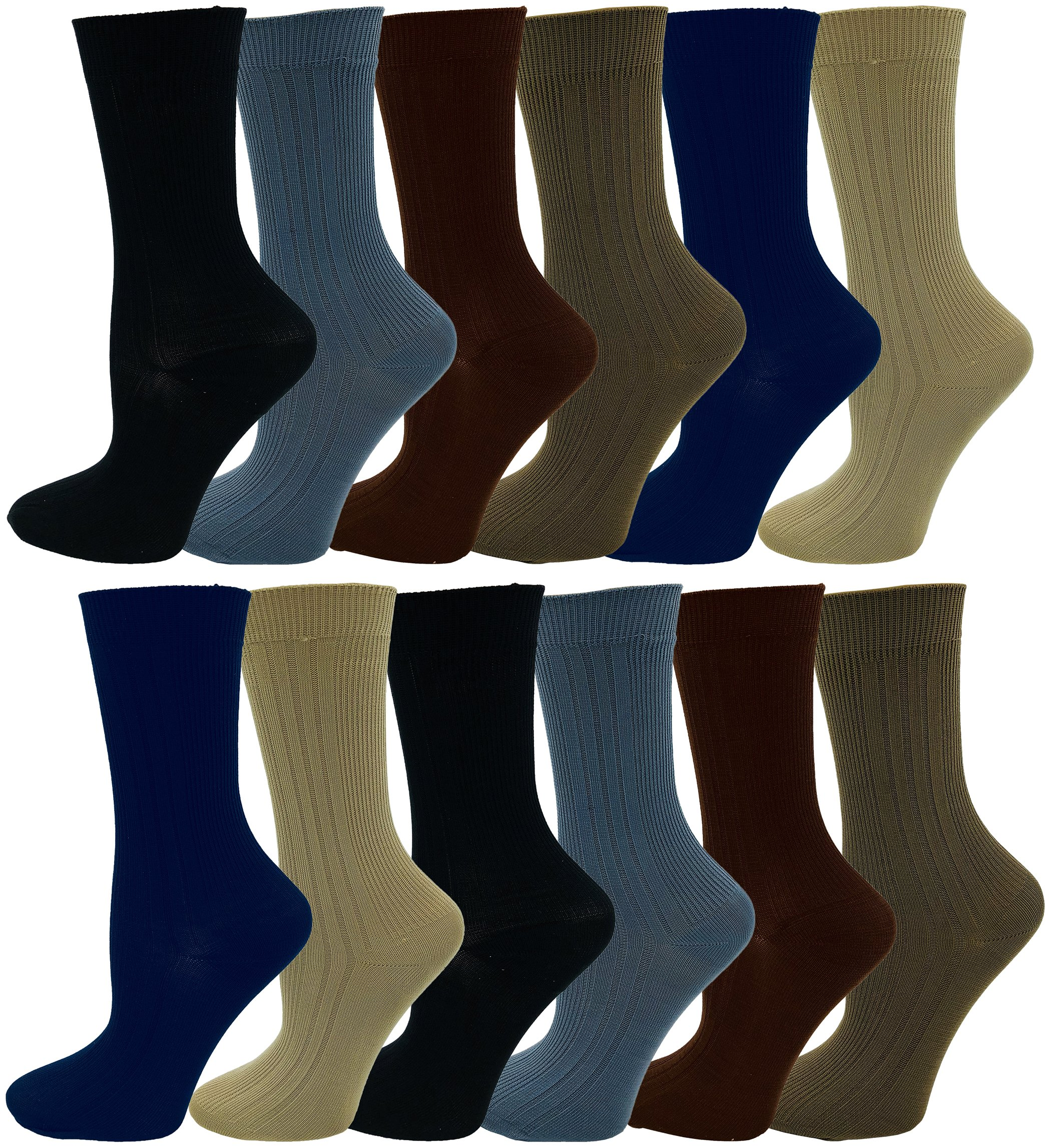 c79322bfc1b6 Get Quotations · Boys Dress Socks, 12 Pairs, Comfort Soft Stretchy Kids  Crew Sock, Ribbed Stylish