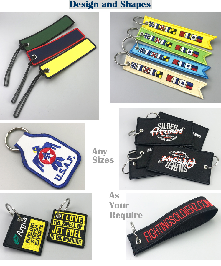 Fashionable high quality embroidered woven keychain for motorcycle