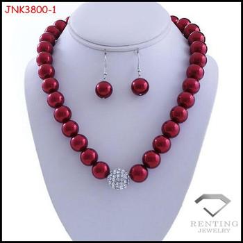 Simple Design Handmade Imitation Glass Heavy Pearl Necklace Set