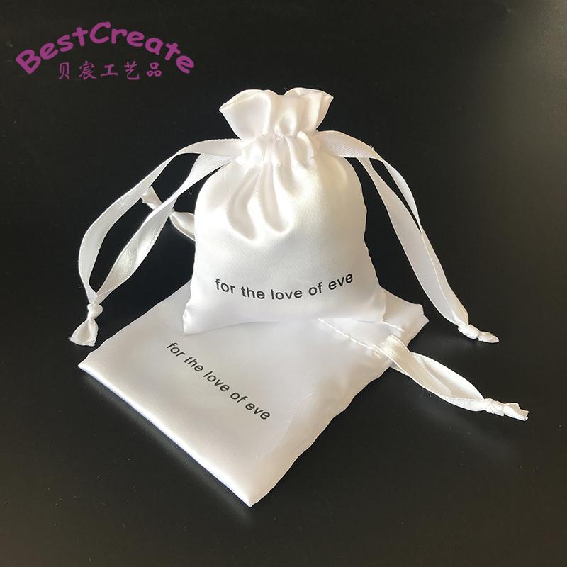 Individuell Bedruckte Kleine Seide Kordelzug Taschen Weiß Satin Schmuck Beutel 10x13 cm