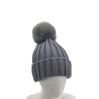Women s Faux Fur Pom Pom Fleece Lined Knitted Winter Beanie Hat ... bb355fd383