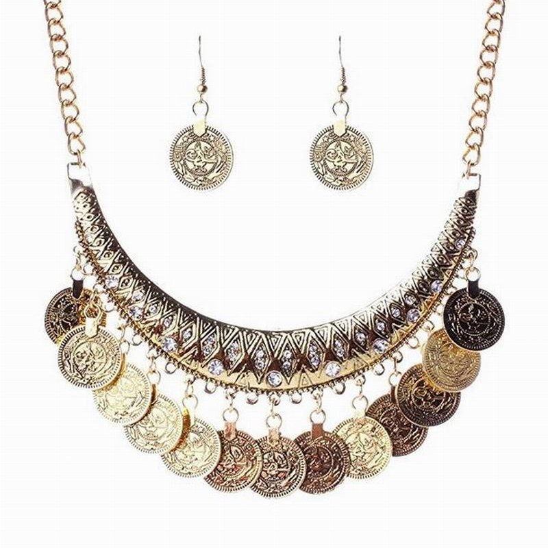 Fashion Women Boho Jewelry Sets Retro Ethnic Gypsy Coin Tassels Hollow Flower Statement Necklace and Earring Sets bijoux