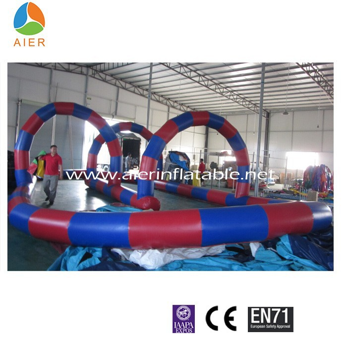 Customized RC inflatable race track ,Pedal Go-Cart zorb ball track inflate