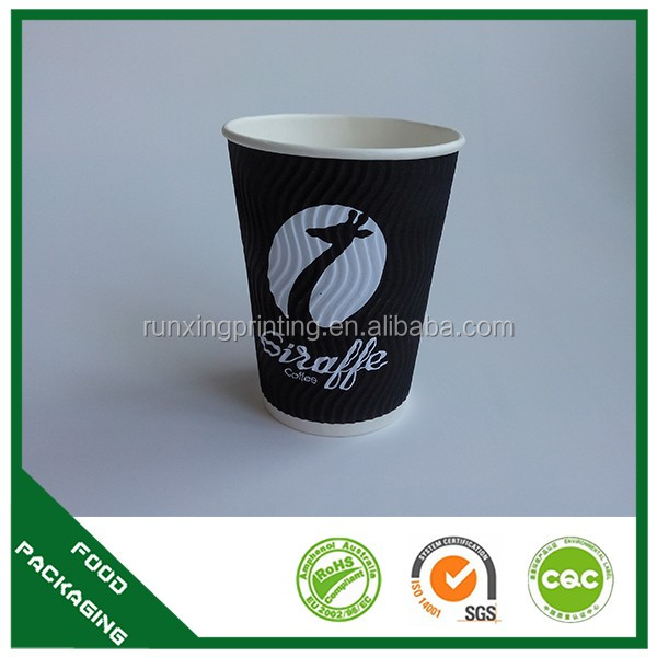 Company logo printed disposable ribbed paper cups