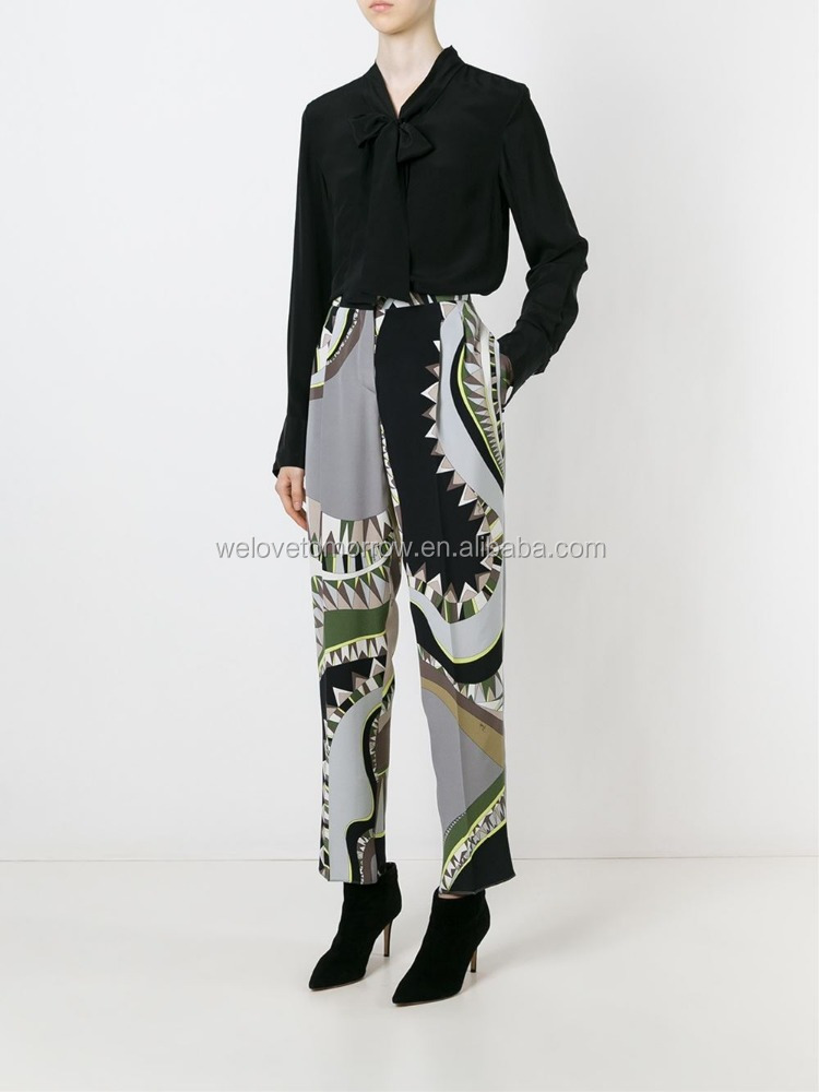 Wholesale women multicoloured silk geometric print trousers for girls and ladies