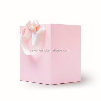 Top Quality Sweet Indian Wedding Door Gift Paper Bag Pink With Ribbon Handle