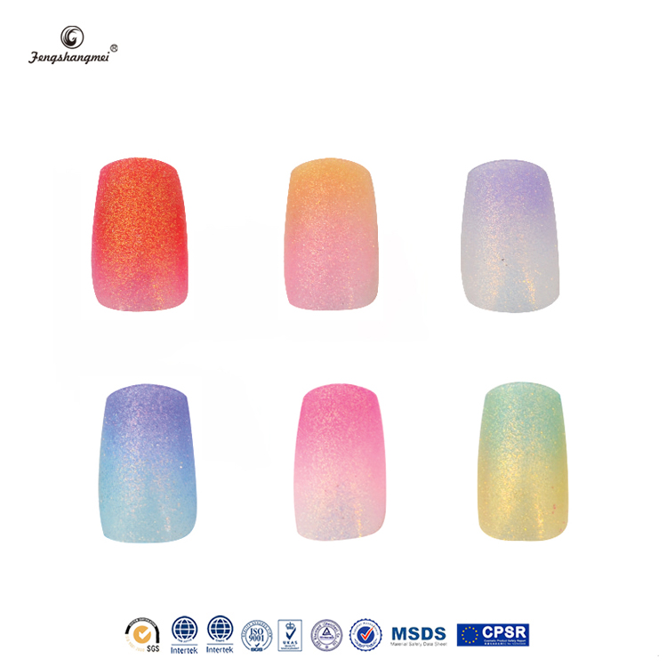 Fengshangmei wholesale free sample nail art glitter acrylic nail tips