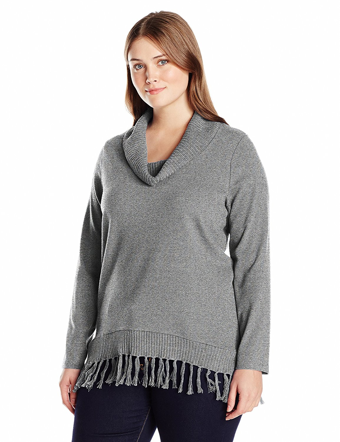 34b8506064a Get Quotations · Rafaella Women s Plus Size Cowl Neck Knit with Fringe  Sweater