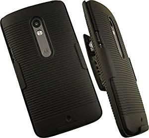 NAKEDCELLPHONE'S BLACK RIBBED RUBBERIZED HARD SHELL CASE COVER + BELT CLIP HOLSTER STAND FOR MOTOROLA MOTO X PLAY PHONE (XT1561, XT1562, XT1563)