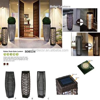 Solar Rattan Floor Lamp Villas Garden Balcony Decorative Lamps So8534 Lantern Plastic